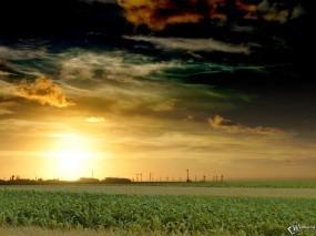 Обои Матушка природа: Солнце, Ветряки, Колхоз, Прочие пейзажи