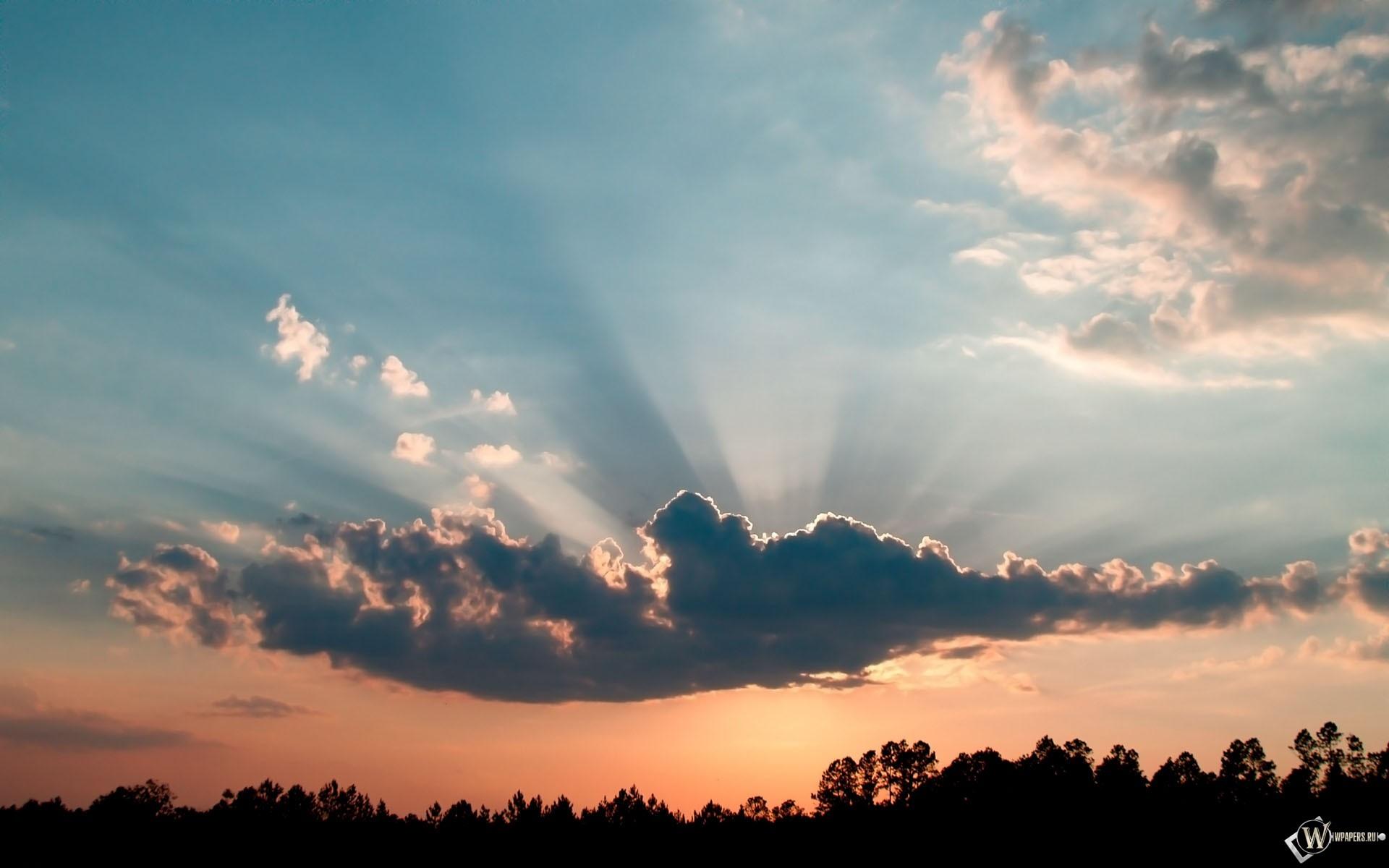 Солнце за облаком 1920x1200
