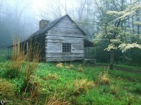 Обои Домик в лесу: , Зима