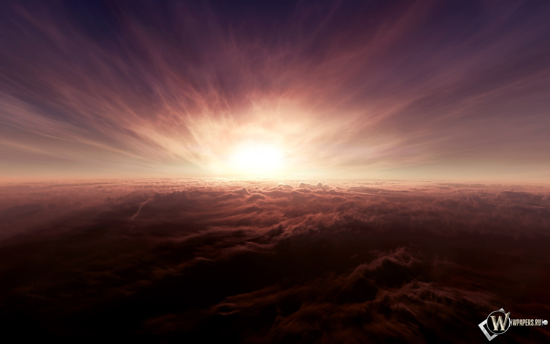 Закат солнца над облаками 1920x1200