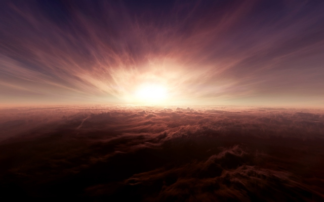 Закат солнца над облаками