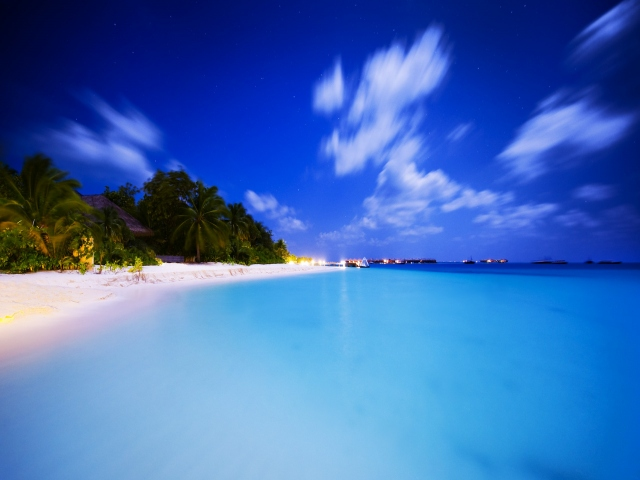 Скачать обои Мальдивы (Облака, Пляж, Вода, Море, Небо