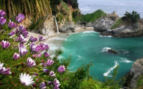 Обои Залив в море: Море, Скалы, Цветы, Залив, Прочие пейзажи