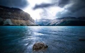 Обои Горная река: Река, Горы, Свет, Камень, Горы