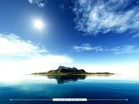 Обои Distant Horizon: Облака, Солнце, Остров, Прочие пейзажи
