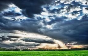 Обои Небо над полем: Свет, Поле, Небо, Лучи, Прочие пейзажи