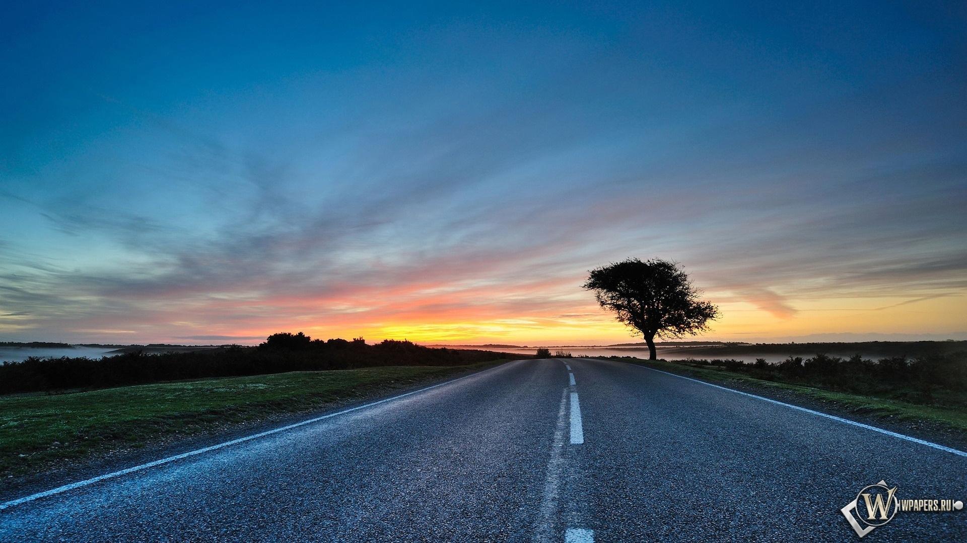 Дорога и закат 1920x1080