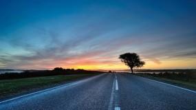 Обои Дорога и закат: Дорога, Солнце, Закат, Прочие пейзажи