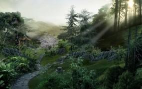 Обои Лесная сказка: Лес, Лучи солнца, Тропинка, Прочие пейзажи