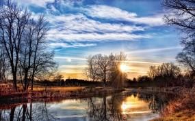 Обои Весенний закат: Река, Деревья, Закат, Весна, Берега, Прочие пейзажи