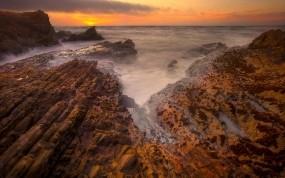 Обои Острые скалы: Море, Закат, Скалы, Берег, Калифорния, Прочие пейзажи