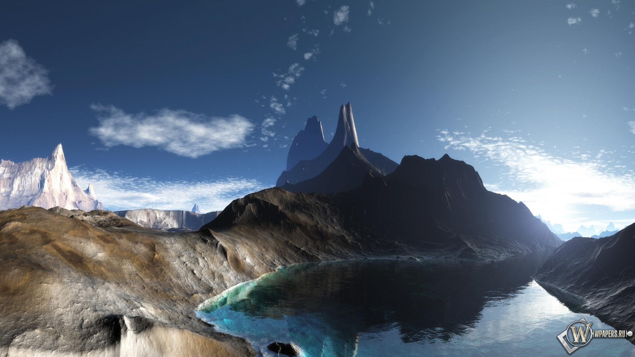 Горное озеро 2048x1152
