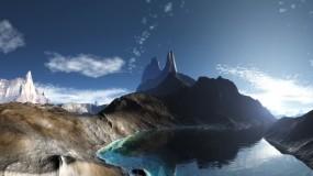 Обои Горное озеро: Горы, Скалы, Озеро, Панорама, Вода и небо