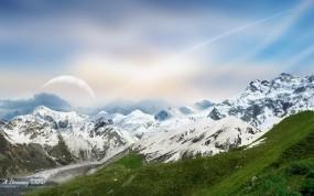 Обои Горная гряда: Горы, Снег, Небо, Горы