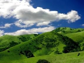 Обои Зелёные горы: Облака, Холмы, Небо, Зелёный, Горы