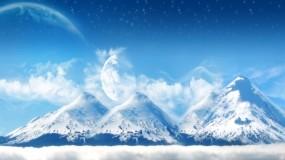 Обои Заснеженные горы: Горы, Снег, Планеты, Зима