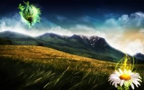 Обои Горный хребет: Горы, Небо, Цветы, Горы