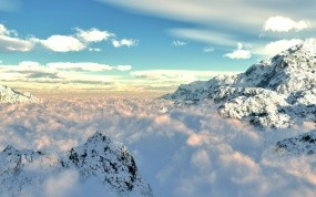 Обои Снежные горы: Облака, Горы, Снег, Зима