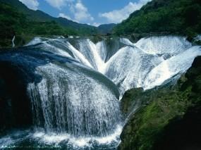 Обои Водопад Жемчужина - долина Цзючжайгоу: Водопад, Китай, Водопады