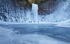 Обои Ледяной водопад: Зима, Лёд, Водопад, Люди, Водопады