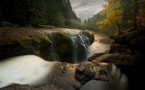 Обои Маленький водопад: Река, Деревья, Камни, Водопад, Водопады