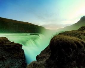 Обои Лазурный водопад: Горы, Свет, Природа, Водопад, Водопады