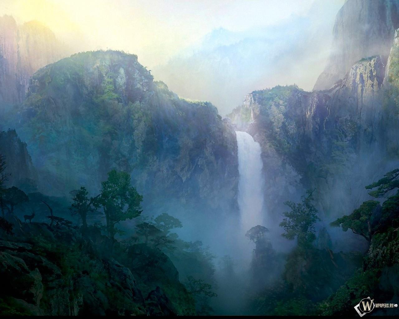 Туманный рассвет над водопадом 1280x1024