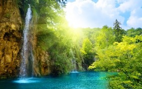 Обои Солнечный водопад: Солнце, Водопад, Водопады
