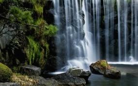 Обои Водопад: Камни, Водопад, Поток, Хвоя, Водопады