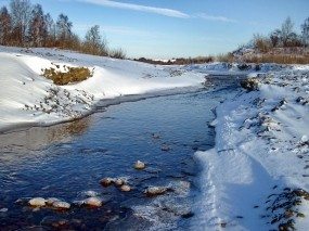 Обои Зимний ручей: Зима, Пейзаж, Ручей, Зима
