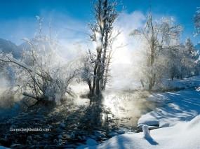 Обои Ранняя весна: Снег, Солнце, Весна, Пейзаж, Зима