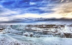 Обои Ледяная река: Река, Зима, Лёд, Небо, Зима