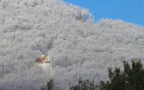 Обои Зимний домик в лесу: Зима, Деревья, Гора, Домик, Зима