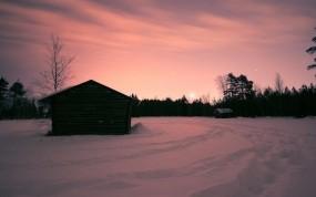 Обои Дом на закате: Зима, Снег, Закат, Дом, Зима