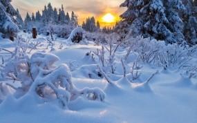 Обои Зимний пейзаж: Зима, Снег, Солнце, Закат, Зима