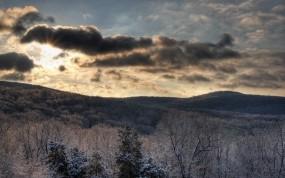 Обои Зима в горах: Зима, Лес, Солнце, Небо, Зима