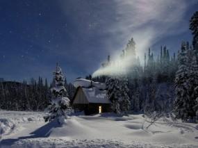 Обои Избушка в лесу: Зима, Снег, Деревья, Зима