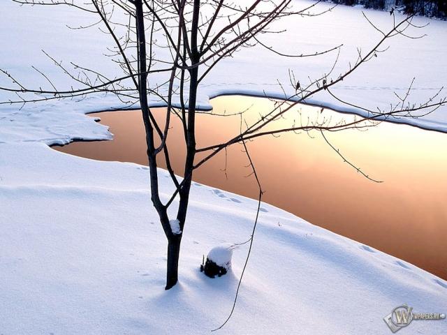 Озеро зимой