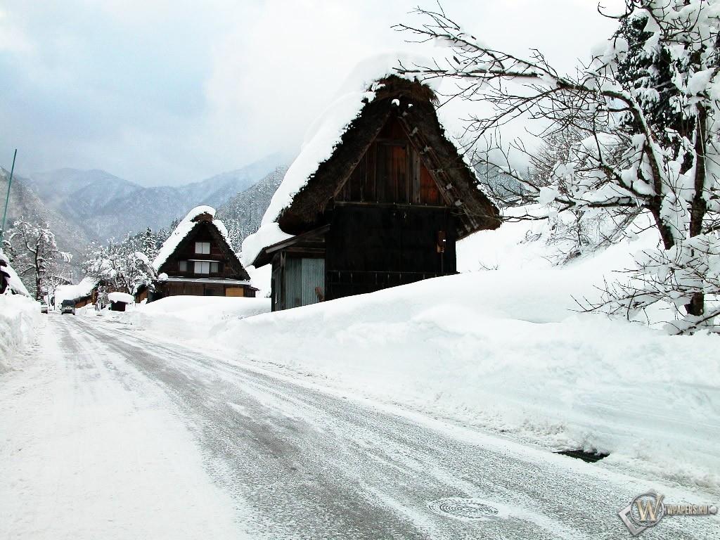Снежная дорога 1024x768