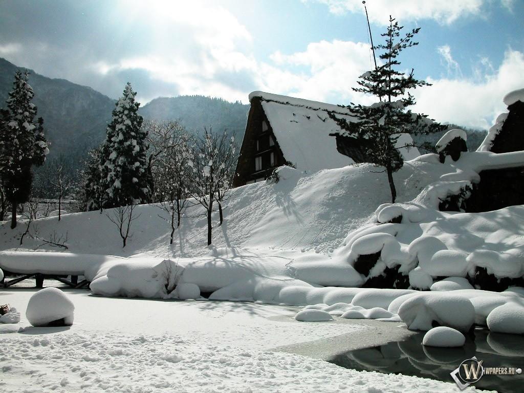 Зимние домики 1024x768