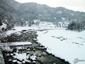 Обои Маленькая деревушка зимой: , Зима