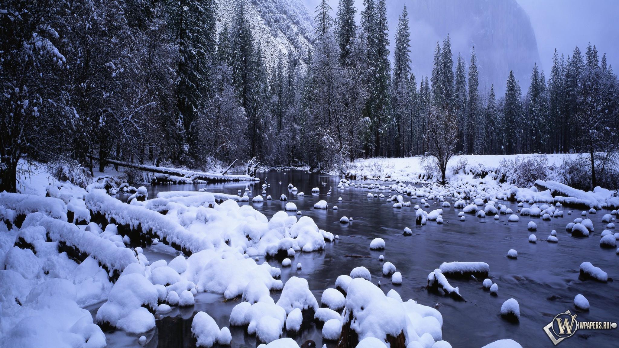 Зимний ручей 2048x1152