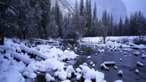 Обои Зимний ручей: Зима, Снег, Лес, Ручей, Зима