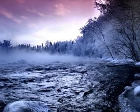 Обои Зимняя речка: Зима, Пар, Речка, Зима
