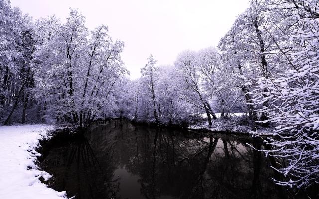 Тёмное озеро зимой