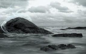 Обои Скалы: Волны, Камни, Скалы, Небо, Вода и небо