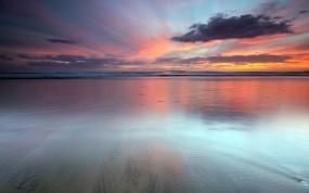 Обои Водная гладь: Океан, Закат, Новая Зеландия, Вода и небо