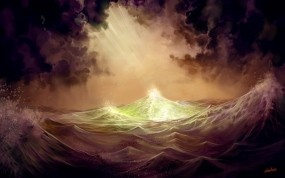 Обои Буря на море: Свет, Волны, Буря, Вода и небо