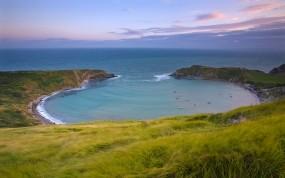 Обои Залив: Море, Берег, Трава, Небо, Залив, Вода и небо