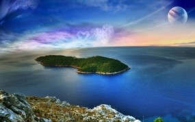 Обои Фантастический океан: Океан, Остров, Планета, Вода и небо